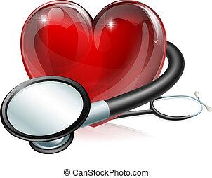 Heart symbol and stethoscope - Medical concept illustration...