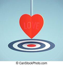 Heart symbol arrow aim at target on blue BG