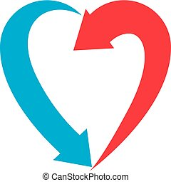 Heart symbol created with two arrows, conceptual vector logo isolated on white background.