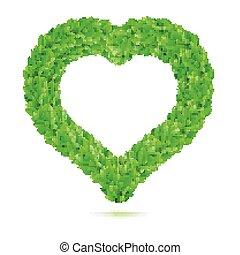Heart symbol in green leaves. Vector illustration.
