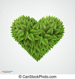 Heart symbol in green leaves.