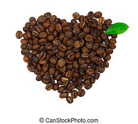 Heart symbol made of coffee beans with gren leaf isolated on white background