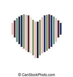 Heart symbol made of colorful stripe.