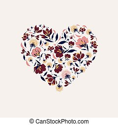 Heart symbol made of flowers and leaves .