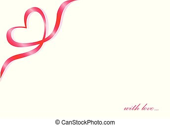 Heart symbol of a red ribbon in the corner on a white background, text with love, horizontal