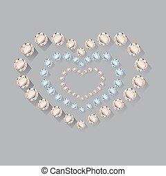 Heart symbol of brilliant diamonds