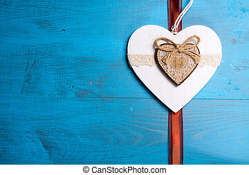 Heart symbol of love - Heart on blue background symbol of ...