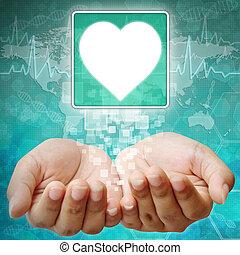 Heart Symbol on hand , medical background