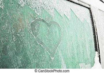 Heart symbol on the car