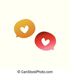 Heart symbol speech bubble chat icon isolated on white background