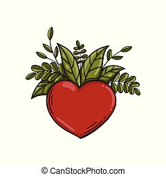 Heart symbol with green leaves. Vector.