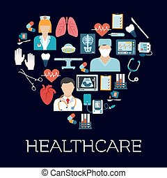 Heart symbol with healthcare and medical icons
