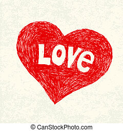 Heart symbol with love word on old paper. Vector illustration, EPS10