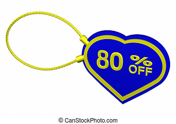 Heart tag with sign discount 80 % off. 3D rendering.