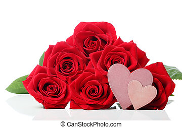 Heart tags with red roses