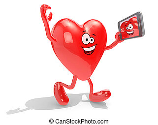heart take a self portrait with her smart phone - heart with...