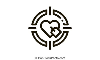 Heart Target Icon Animation. black Heart Target animated icon on white background