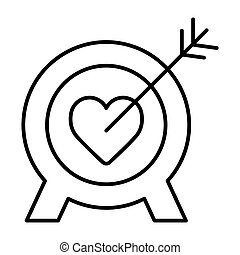 Heart target line icon, outline vector sign, linear style pictogram isolated on white. Aim with heart symbol, logo illustration.
