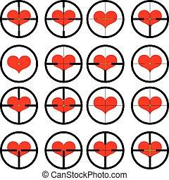 heart , targeted at heart, reticule, viewfinder, target...