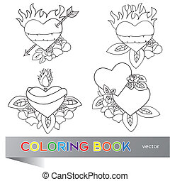 Heart Tattoo Design - coloring book