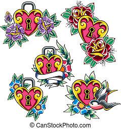 heart tattoo set