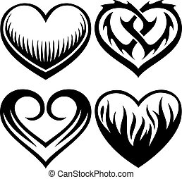 heart tattoos vector set