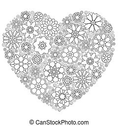Heart template with floral pattern - Heart template with...
