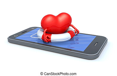heart that swims on the screen of the smartphone - heart...