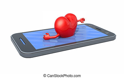 heart that swims on the screen of the smartphone, isolated...