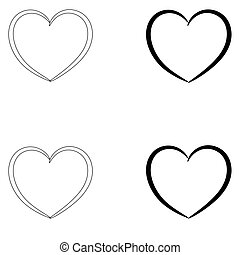 Heart the black and grey color set icon .