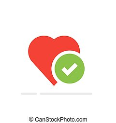 Heart tick icon, healthy heart with checkmark symbol. Vector illustration, flat cartoon. Idea of confirmed or approved good health.