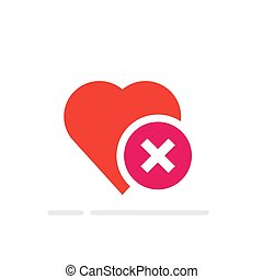 Heart tick icon, healthy heart with cross symbol. Vector illustration, flat cartoon. Idea of refusing ill health.