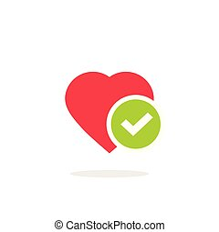 Heart tick icon vector illustration, flat cartoon healthy heart with checkmark symbol, idea of confirmed or approved good health clipart