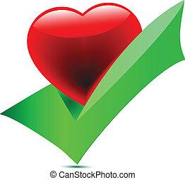 heart-tick, icon., wektor