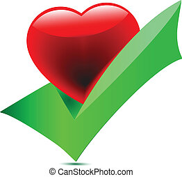 Heart-tick icon.Vector - vector heart tick icon