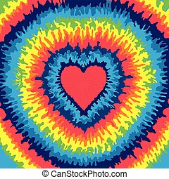 Heart, Love, Rainbow Tie Dye Background