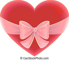 Heart tied ribbon. Heart shape gift