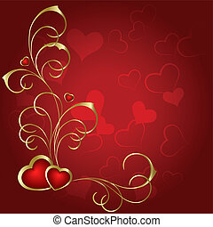 Heart to the St.Valentine - A pair of hearts on a red ...