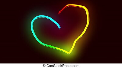 Heart trails forming a heart shape against black background