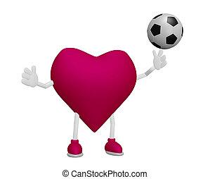 Heart training football heart health sport concept on white background