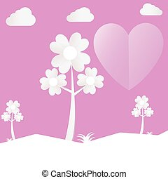 Heart tree cut pink paper love valentine day with clouds