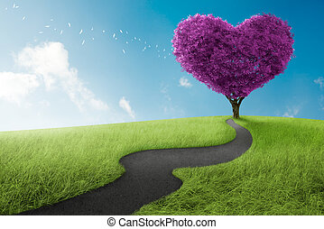 Heart tree - Heart shape tree in lavender meadow for love...