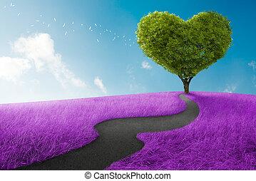 Heart tree - Heart shape tree in lavender meadow for love...