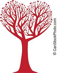 heart tree - heart shaped tree, vector