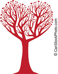 heart tree - heart shaped tree, vector