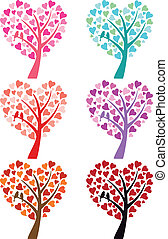 heart tree with birds, vector - heart tree with cute bird...