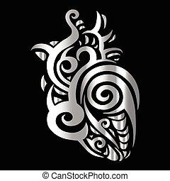 Heart. Tribal pattern