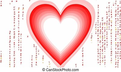 Heart tunnel with matrix code characters, animated message...