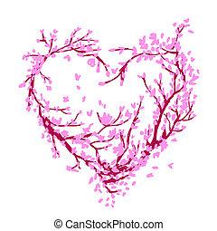 heart tvořit, udělal, od, sakura, strom, jako, tvůj, design