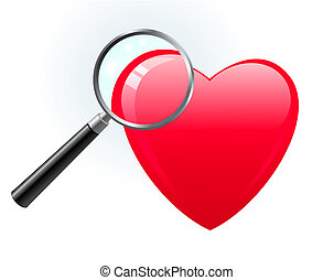 Heart under magnifying glass